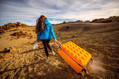 Traveler in the rocky desert